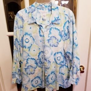 LIZ CLAIBORNE BLUE & YELLOW FLORAL BLOUSE